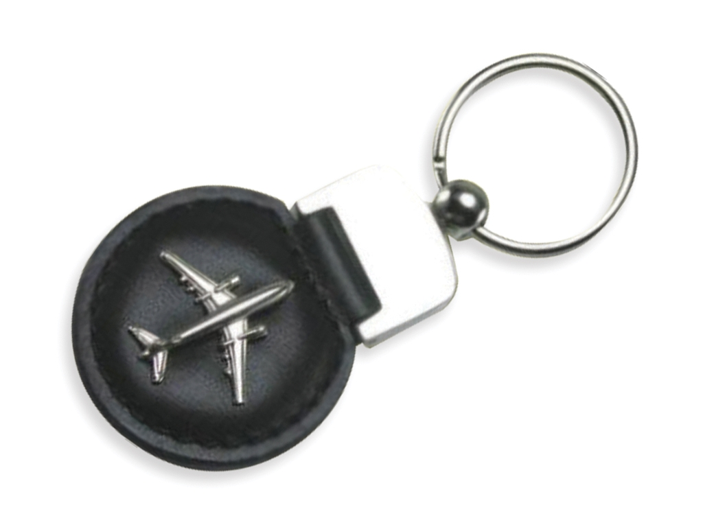 Leather 3D Airplane Keychain