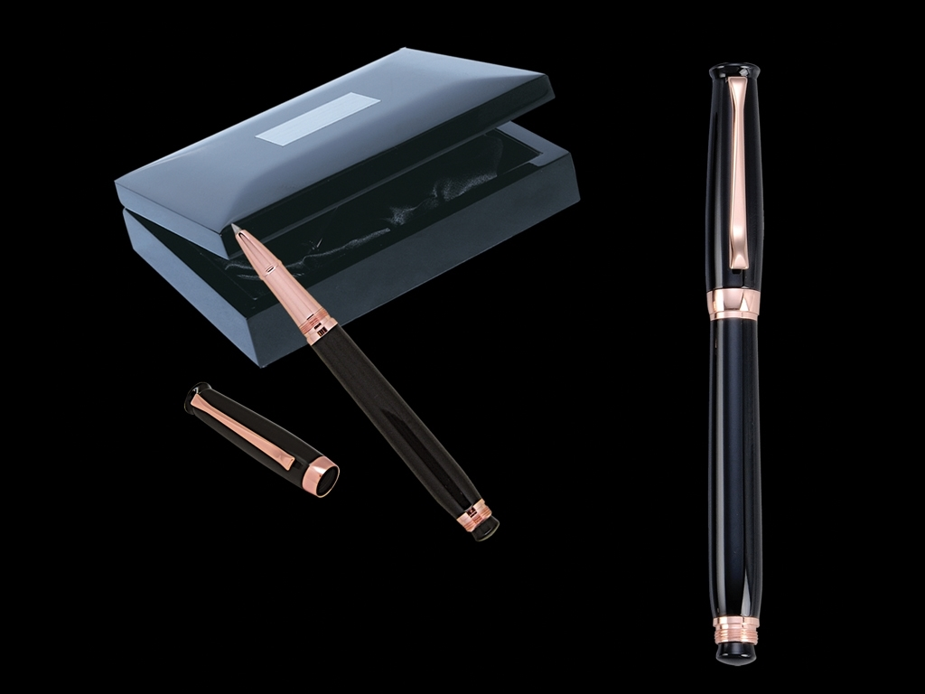 Rose Black Roller Pen